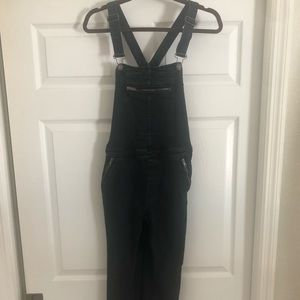 FREE PEOPLE BLACK DENIM OVERALLS STRETCHY SZ 27